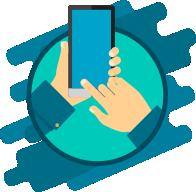 Mão segurando um celular